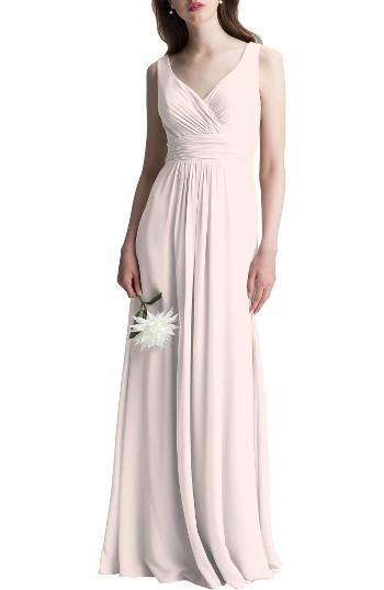 Wedding - Levkoff V-Neck Chiffon A-Line Gown