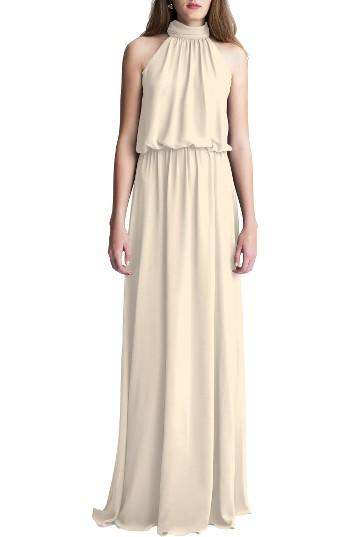 Düğün - High Neck Chiffon A-Line Gown