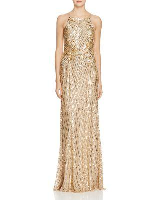 Wedding - Aidan Mattox Embellished Mesh Gown