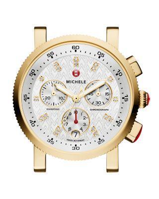 Wedding - MICHELE Sport Sail 18 Diamond Gold Watch Head, 38mm
