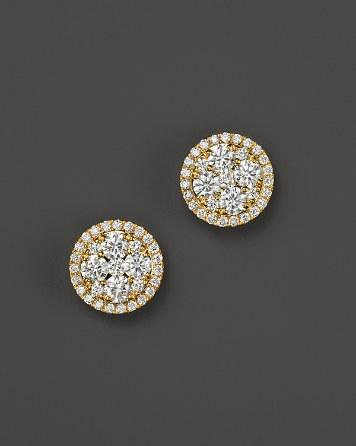 Mariage - Bloomingdale's Diamond Cluster Stud Earrings in 14K Yellow Gold, .75 - 1.50 ct. t.w. - 100% Exclusive