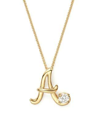 """Mariage - Bloomingdale's Diamond Initial Pendant Necklace in 18K Yellow Gold, 18""""- 100% Exclusive"""