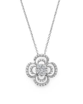 Wedding - Bloomingdale's Diamond Cluster Clover Pendant Necklace in 14K White Gold, .50 ct. t.w.- 100% Exclusive