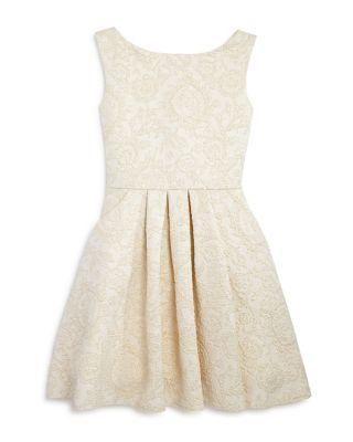 Wedding - Zoe Girls' Gold Brocade Knit Dress - Big Kid