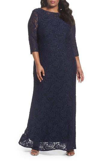 Boda - Alex Evenings Lace A-Line Gown (Plus Size)