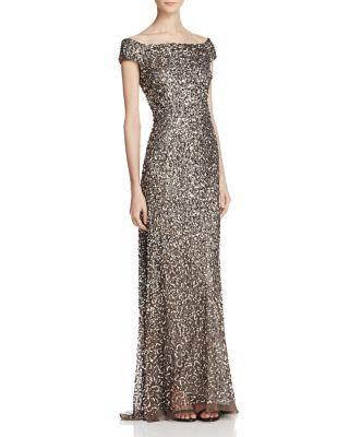 Düğün - Adrianna Papell Off-The-Shoulder Beaded Gown