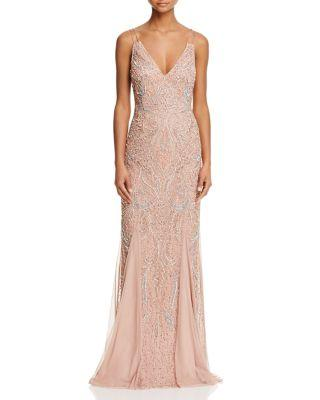 Wedding - Aidan Mattox Beaded V-Neck Gown