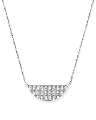 """Mariage - Dana Rebecca Designs 14K White Gold Jeb Half Moon Necklace with Diamonds, 16"""""""