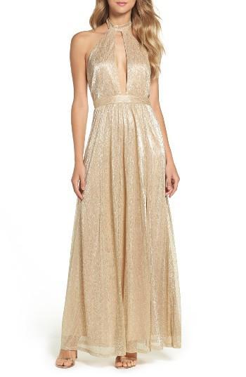 Wedding - Lulus Metallic Halter Gown