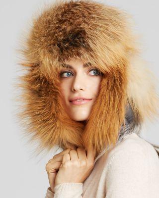 Hochzeit - Maximilian Furs Maximilian Fox Fur Trimmed Hat