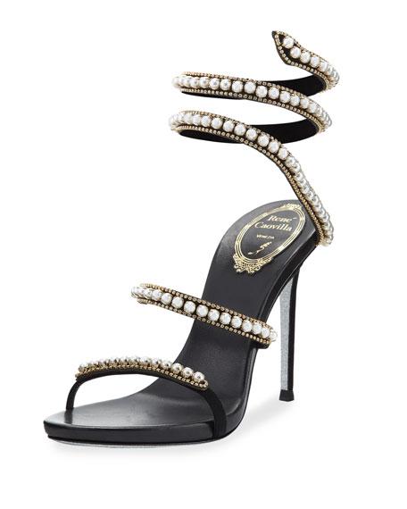 Wedding - Pearly & Crystal Snake 105mm Sandal, Black