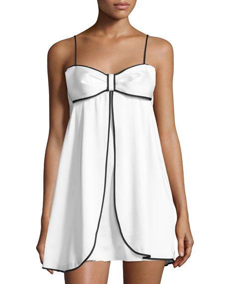 Свадьба - bow-front satin chemise, white/black
