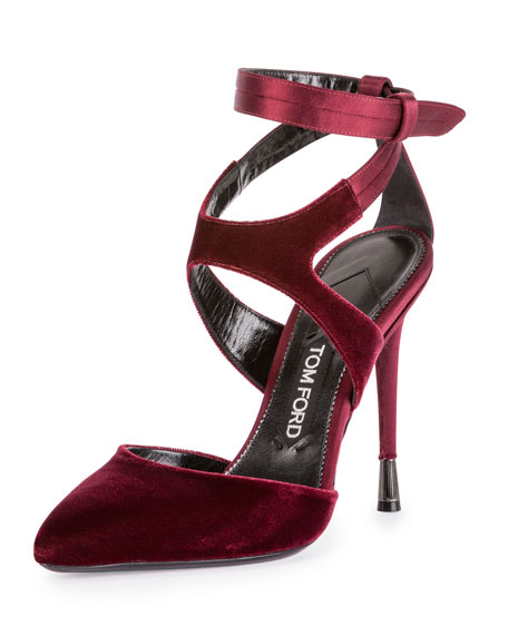 Wedding - Velvet Ankle-Strap 105mm Pump, Bordeaux