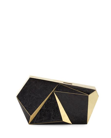 Wedding - Azura Asymmetric Minaudiere, Black/Gold