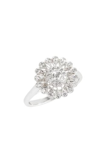 Mariage - Kwiat Vintage Flower Diamond Ring