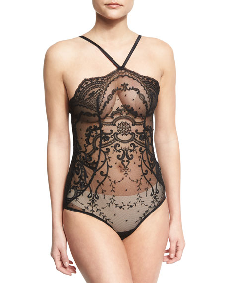 Wedding - Juliette Thong-Back Bodysuit, Black