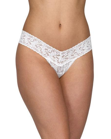 Wedding - Low-Rise Pearl Lace Thong, Light Ivory