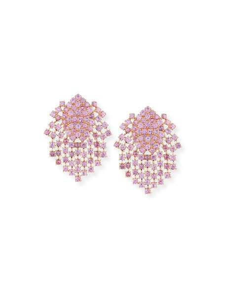 Wedding - Pink Sapphire Fringe Earrings in 18K Gold