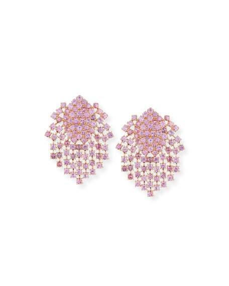 Mariage - Pink Sapphire Fringe Earrings in 18K Gold