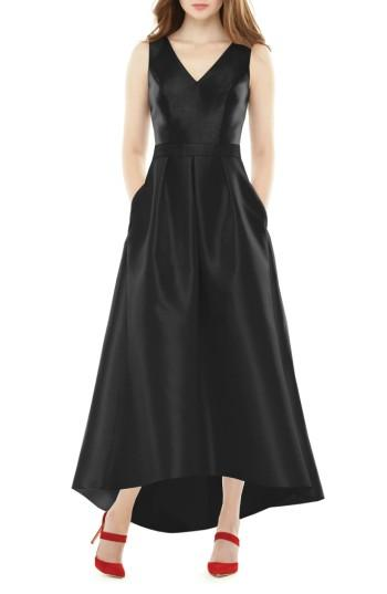 Wedding - Alfred Sung High/Low Sateen Twill Gown