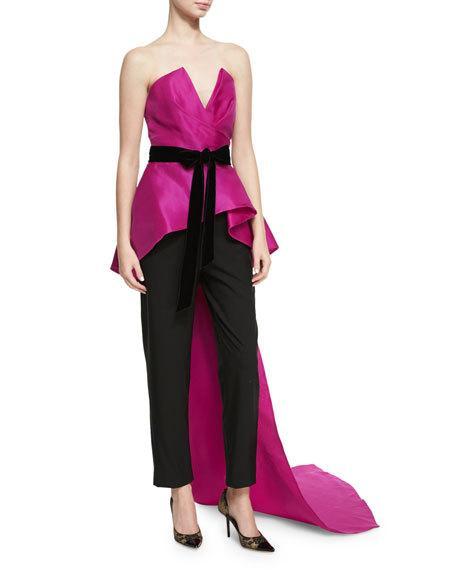 Wedding - Strapless Peplum Top with Velvet Ribbon, Bright Pink/Black