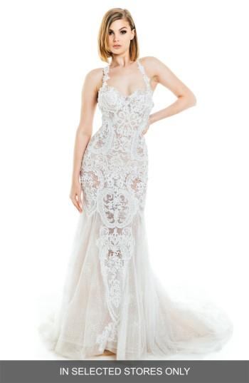Mariage - Olia Zavozina Lena Beaded Lace Halter Gown (In Selected Stores Only)