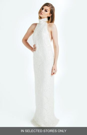 Mariage - Olia Zavozina Donna Beaded Lace Silk Halter Gown (In Selected Stores Only)