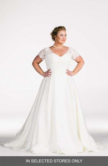 زفاف - Olia Zavozina Elizabeth Beaded Lace Bodice A-Line Gown (Plus Size) (In Selected Stores Only)