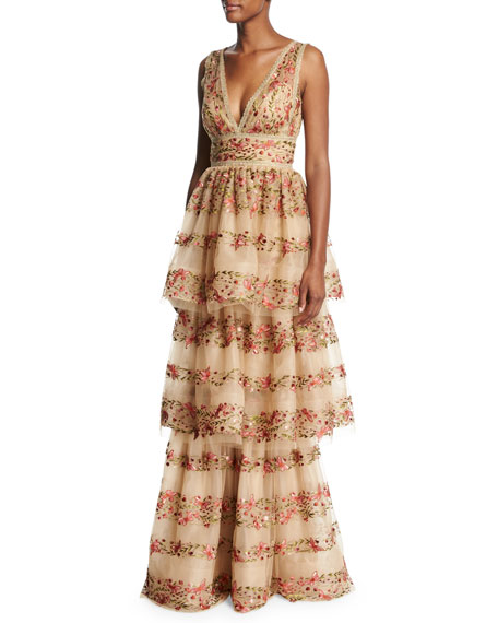 Wedding - Sleeveless Floral-Embroidered V-Neck Gown