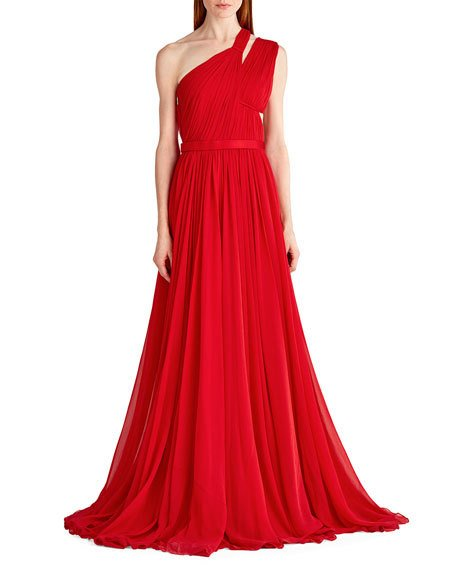 Mariage - One-Shoulder Gathered Chiffon Gown