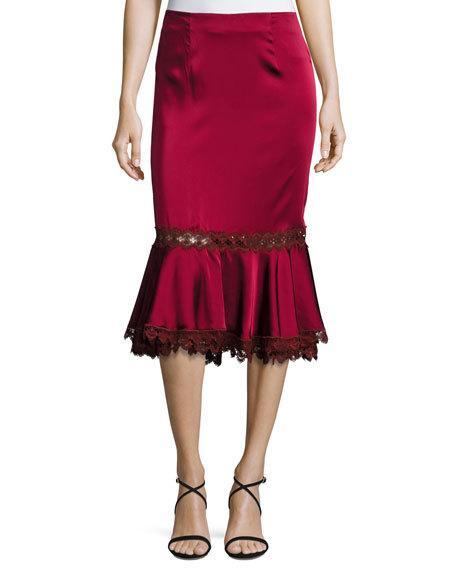 Hochzeit - Sateen Midi Trumpet Skirt w/ Lace