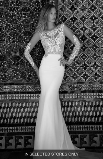 Mariage - Alon Livné White Blair Illusion Long Sleeve Gown (In Selected Stores Only)