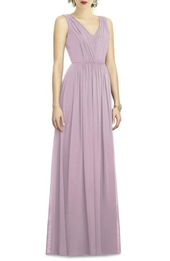 Wedding - Dessy Collection Shirred Shimmer Chiffon Gown