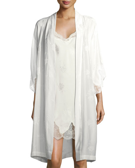 Boda - Bridal Lace-Trim Silk-Blend Robe