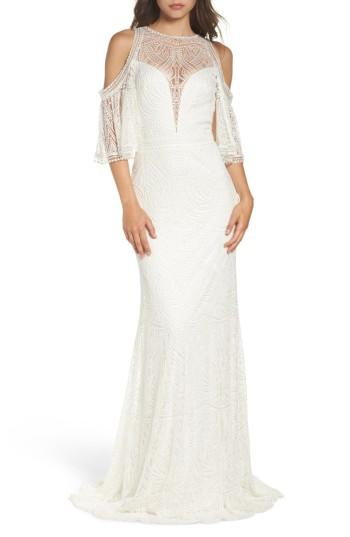 Wedding - Tadashi Shoji Embroidered Cold Shoulder Mesh Gown