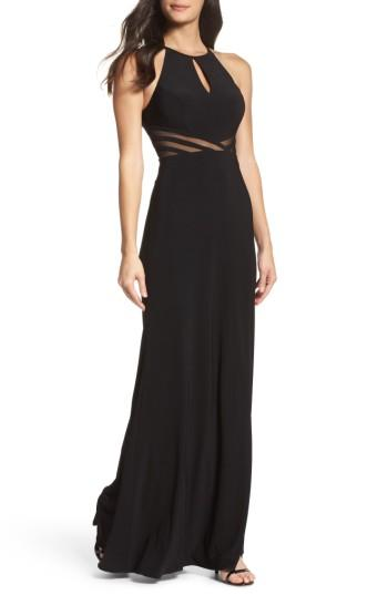 Wedding - Xscape Illusion Waist Jersey Halter Dress