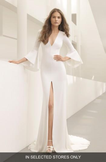 Mariage - Rosa Clara Pradera Plunge Bell Sleeve Crepe Gown