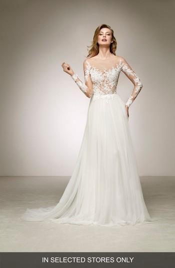 Mariage - Pronovias Datil Illusion Tulle A-Line Gown