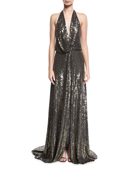 Wedding - Molten Sequin Halter Gown
