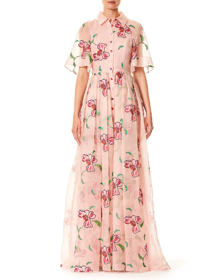 Wedding - Floral-Embroidered Button-Front Short-Sleeve Evening Gown