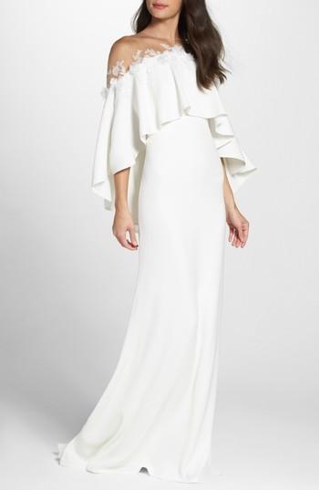 Mariage - Tadashi Shoji Off the Shoulder Popover Gown