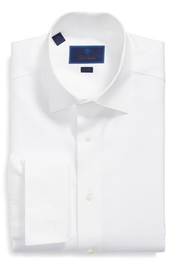 Hochzeit - David Donahue Trim Fit Solid French Cuff Tuxedo Shirt