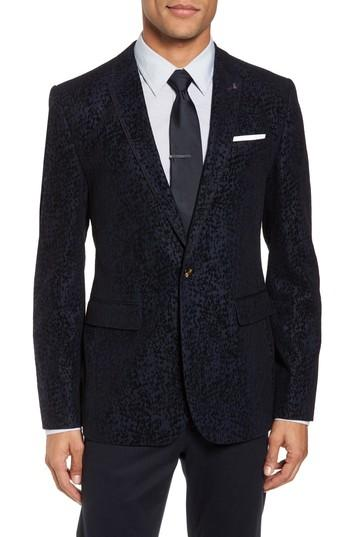 Wedding - Ted Baker London Sherman Trim Fit Flocked Velvet Dinner Jacket