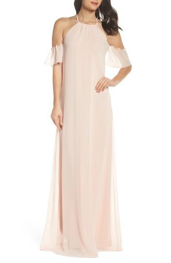 Wedding - nouvelle AMSALE Ruffle Sleeve Halter Gown