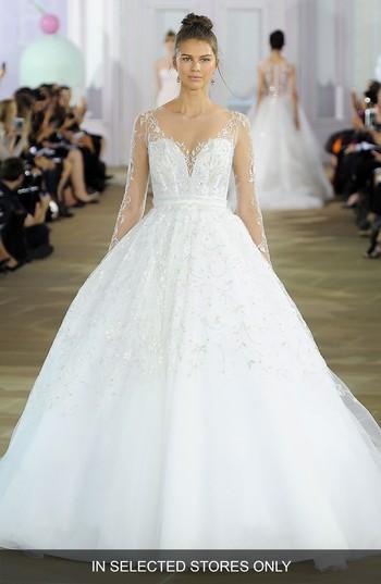 Hochzeit - Ines di Santo Beaded Illusion Bodice Silk Ballgown