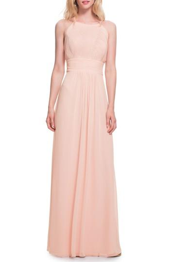 Wedding - #Levkoff Low Back Pleated Chiffon Gown