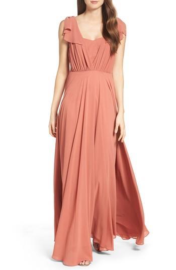 Wedding - Lulus Flutter Sleeve Chiffon Gown