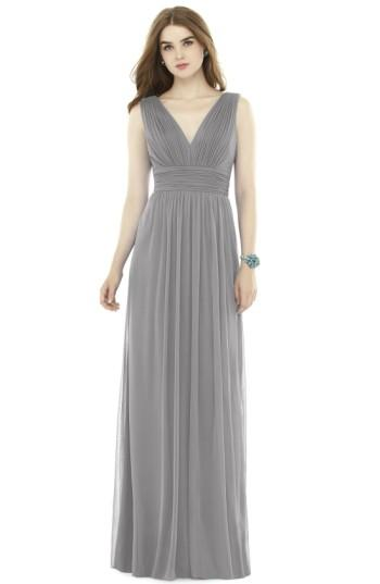 Wedding - Alfred Sung V-Neck Pleat Chiffon Knit A-Line Gown