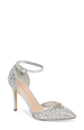 Wedding - Lauren Lorraine Rose Crystal Embellished d'Orsay Pump (Women)