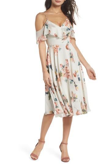 Jenny Yoo Kelli Ohana Print Chiffon Cold Shoulder Dress